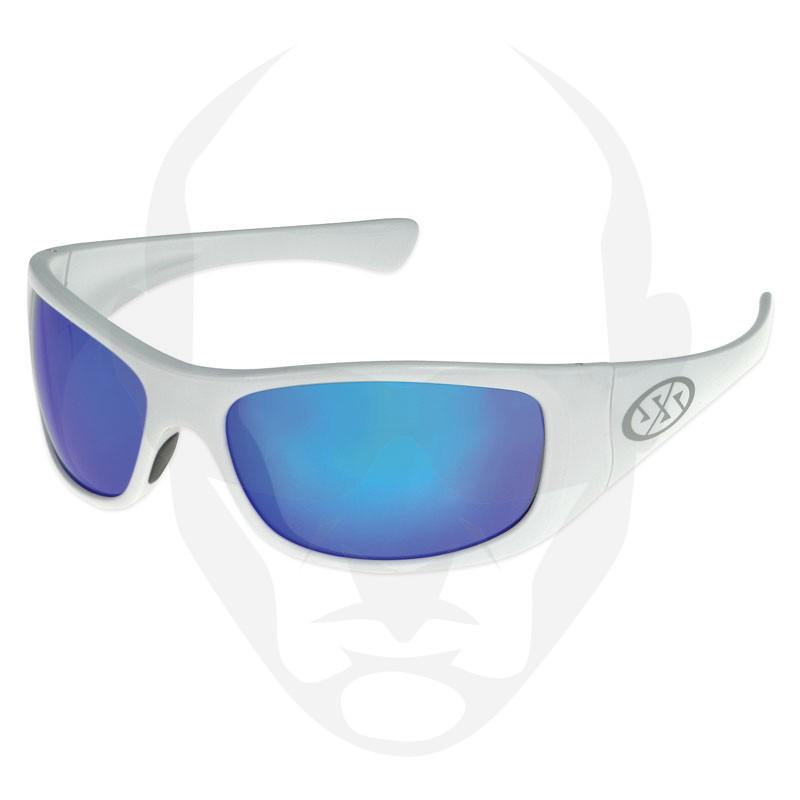 Super Safety JAM Safety Glasses - White Frame Blue Mirror Lens